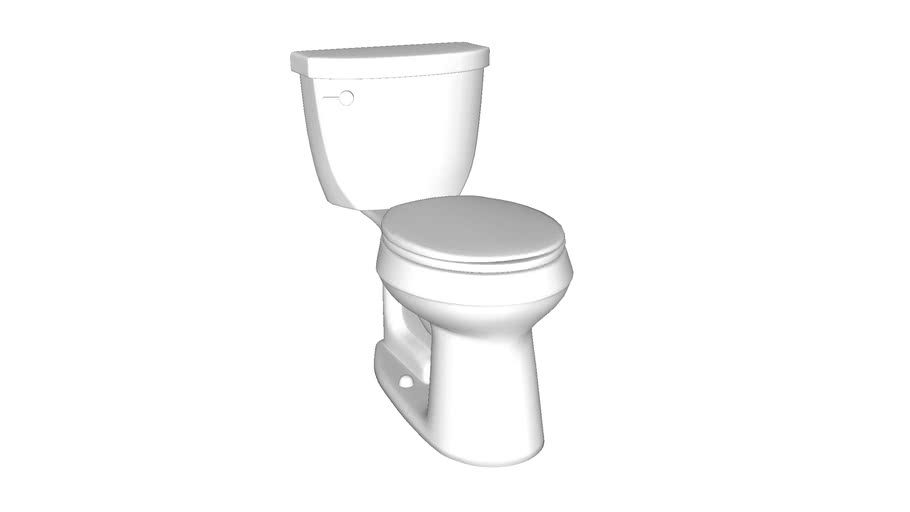 K-3888 Cimarron(R) Comfort Height(R) Comfort Height(R) two-piece round-front 1.6 gpf toilet with AquaPiston(R) flush technology and left-hand trip lever, seat not included