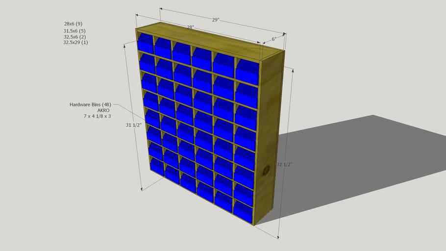 Shelf for AKRO hardware bins