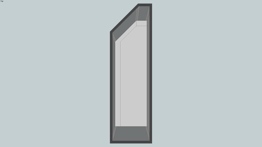 5' left angled glass showcase