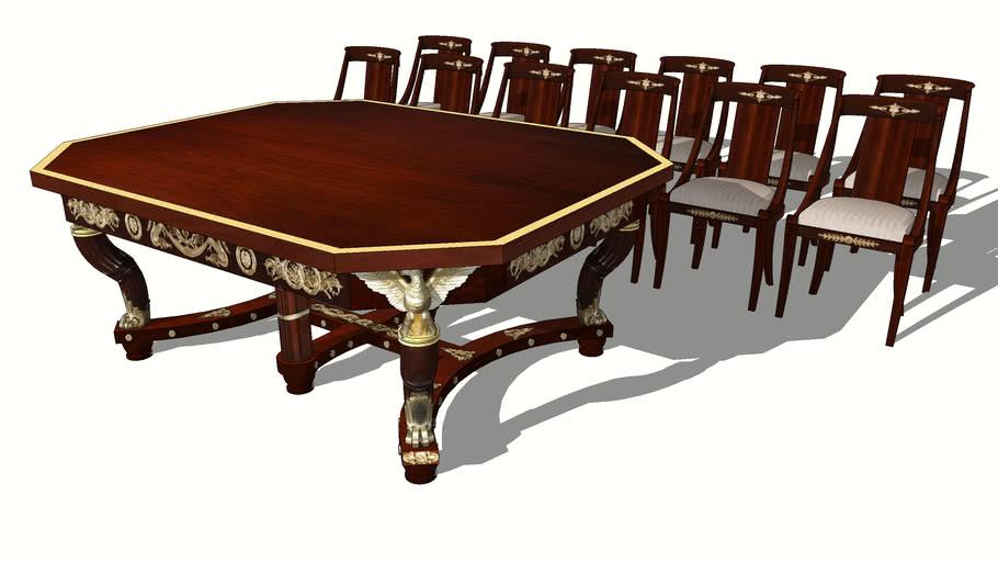 """TABLE ET 12 CHAISES EN ACAJOU DE STYLE """"RETOUR D'EGYPTE"""" ATENA"""