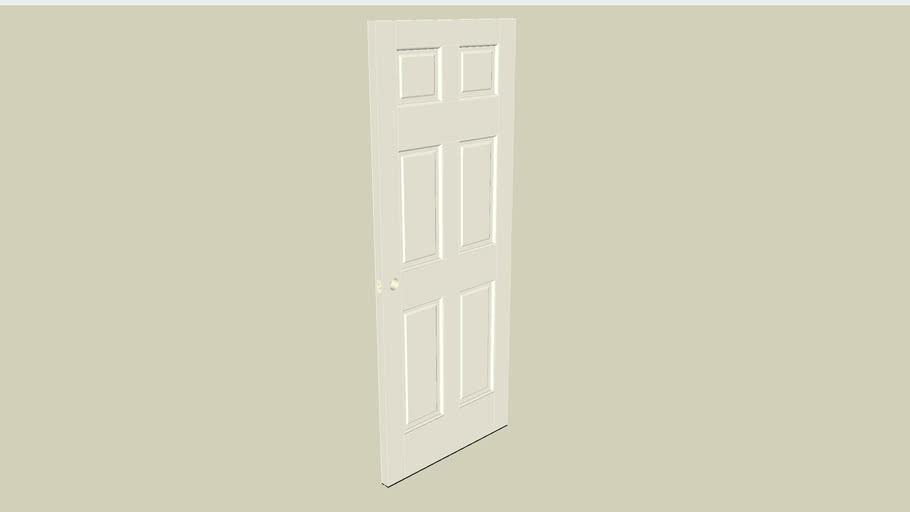 """Entry Door: 6'8"""" x 2'8"""", 6 panels w/ holes for door knob"""