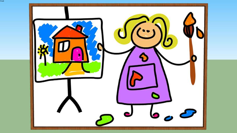 Child Painting Cocuk Boyama Resim 3d Warehouse