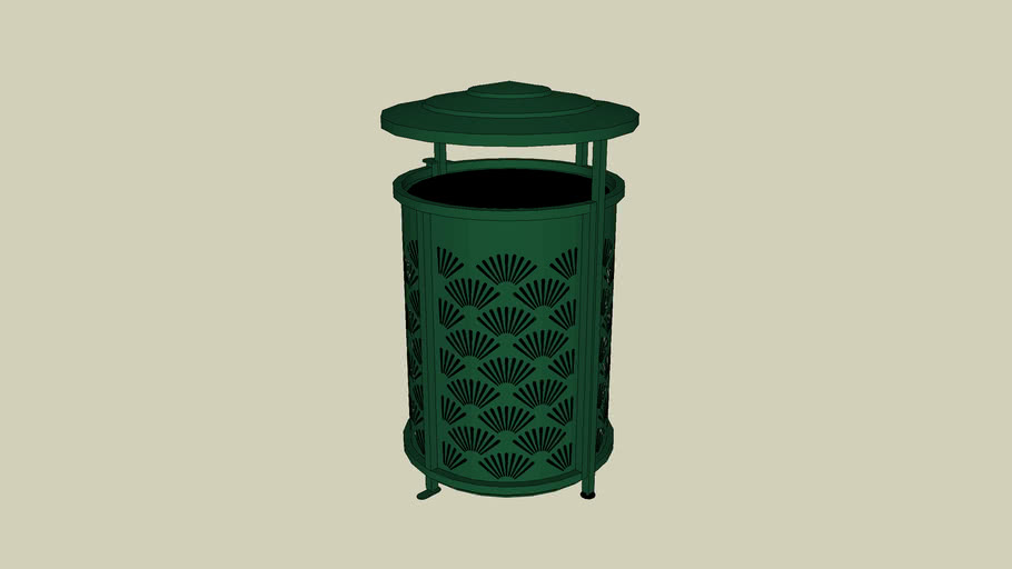 Forms+Surfaces® Urban Renaissance™ Receptacle, 45 gallon, side opening, Fan grillwork