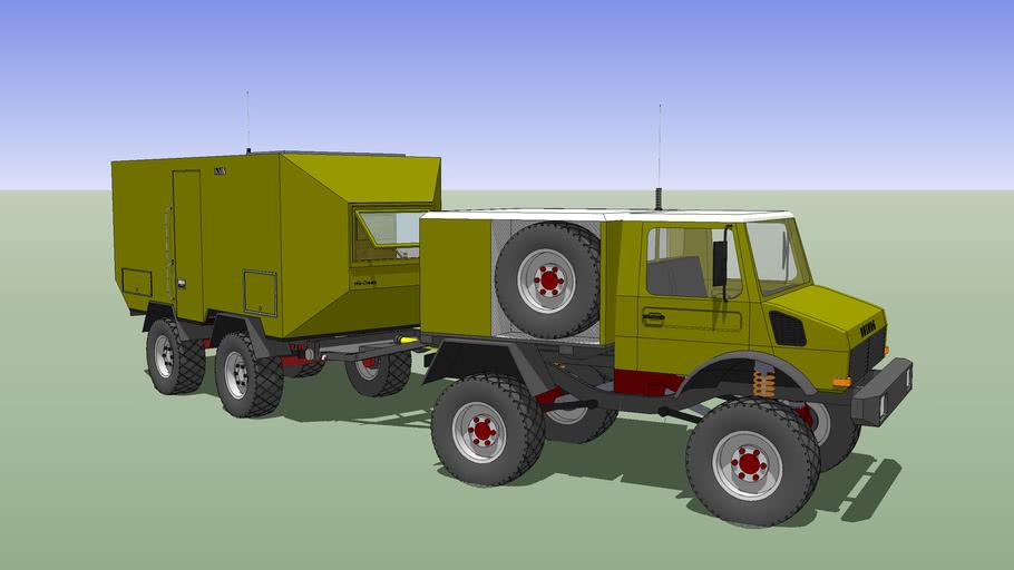 Camper Truck, Unicat Trailer + Unimog U-500