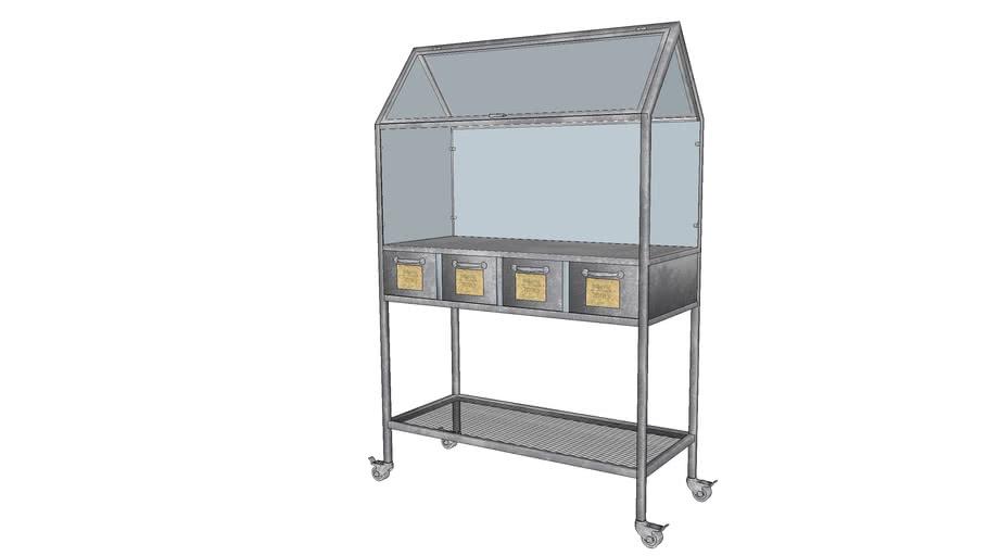 AGAPANTHE - Mini-serre à roulettes 4 tiroirs en métal gris