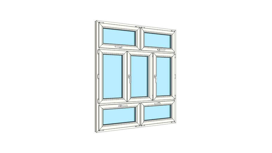 Окно штульповое трехстворчатое с двойной верхней и двойной нижней фрамугами VEKA Softline 82
