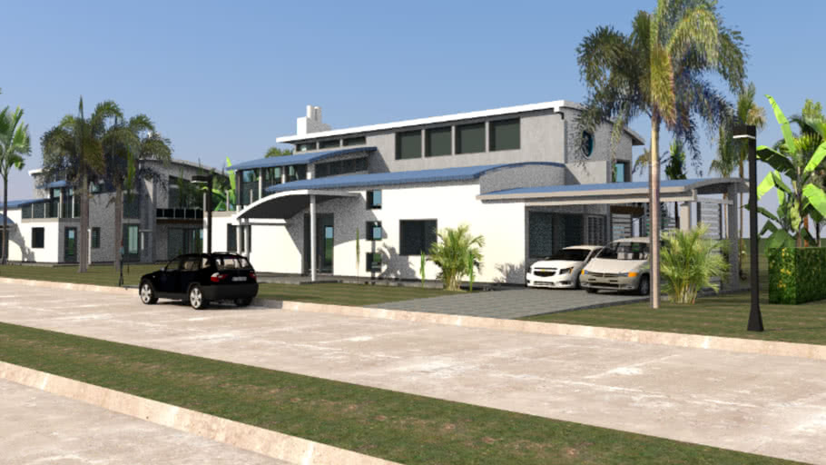 MODERN VILLA with metal arched roof
