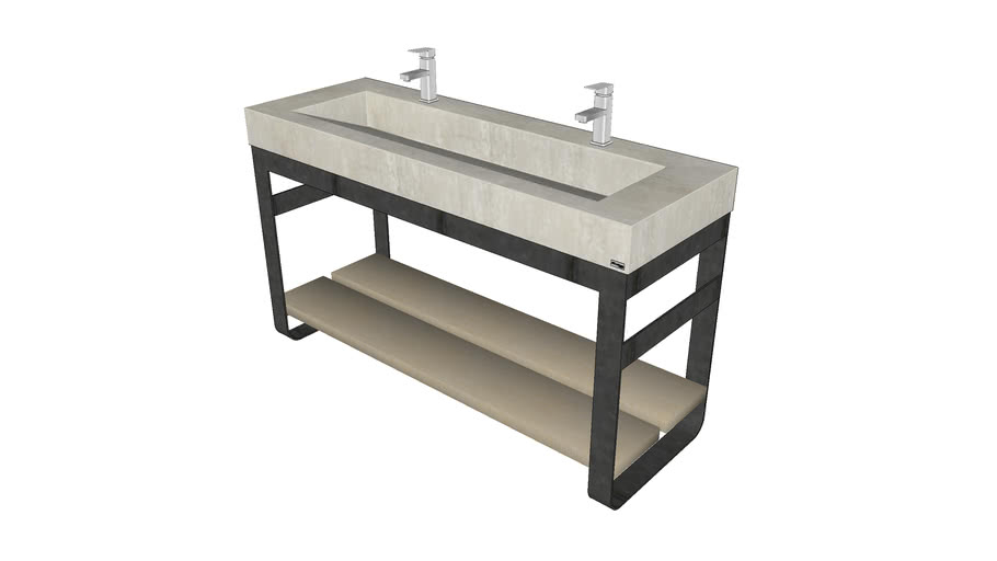 """60"""" Outland Vanity with Concrete Ramp Sink"""