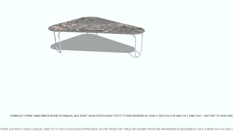 COFFEE TABLE PAPER CLIP TRIANGLE MIRROR IMAGE MARBLE TOP DESIGNED BY JOHN A WEICK RA & AP LEED