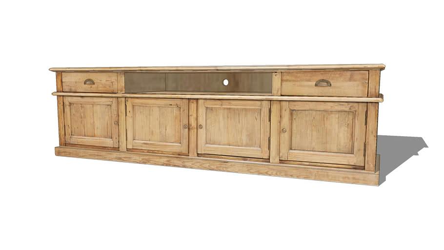 MARLONE Meuble TV 4 portes 2 tiroirs en pin recyclé vieilli REF 166865 PRIX 599.00€