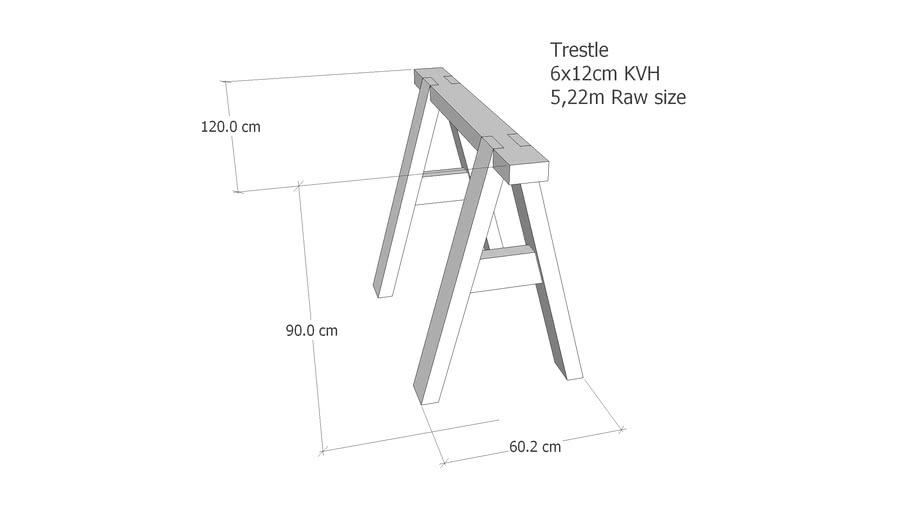 Trestle Arbeitsböcke 6x12cm Wood