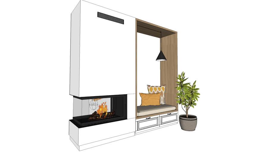fireplace nook, plant, pillows, pendant light