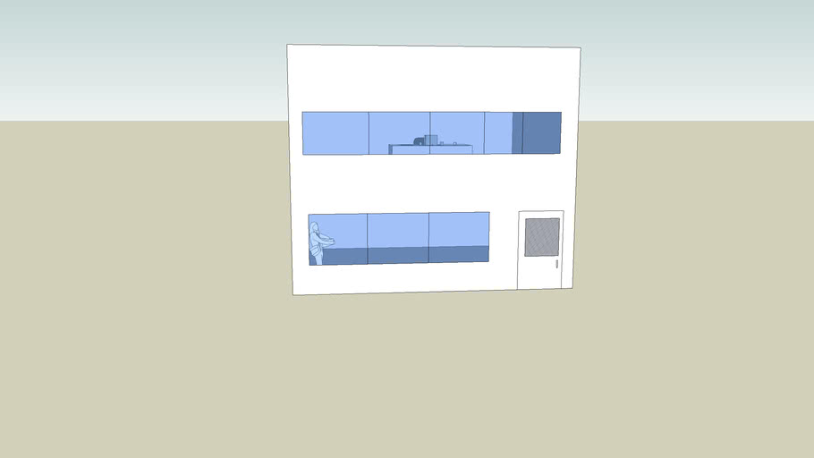 Office Building with two floors and desk