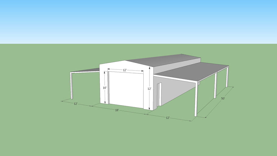 Barn with lean too equipment covers and hay storage