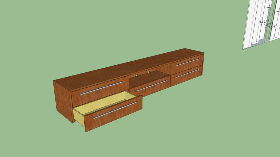 Floating 8' long TV Console