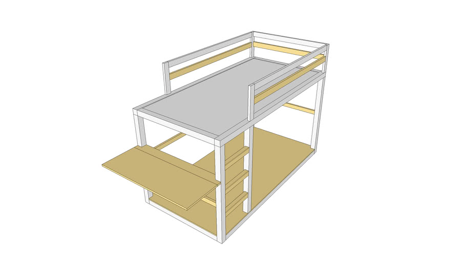 Twin low bunk bed with folding desk.
