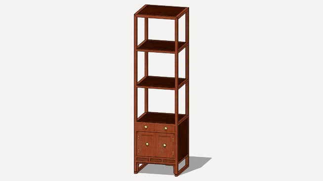 """4방탁자 四方卓子 Korean Traditional Furniture """"opened stationary shelf"""" 1012 3D Artworks"""