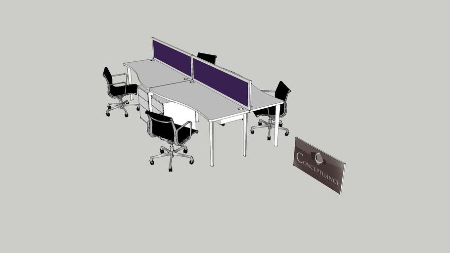 Bureau bench 4 personnes Réf : 20503