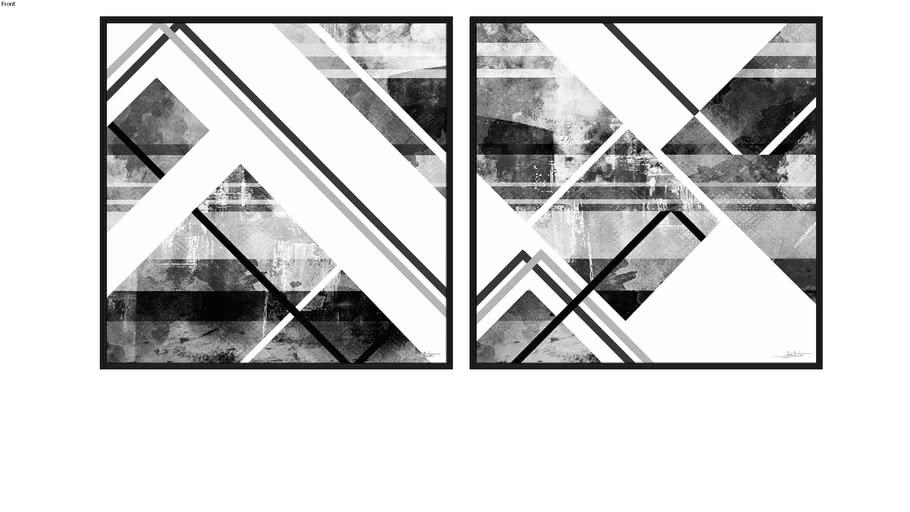 Composição de 2 Quadros - Ilusion Abstract P&B I e II