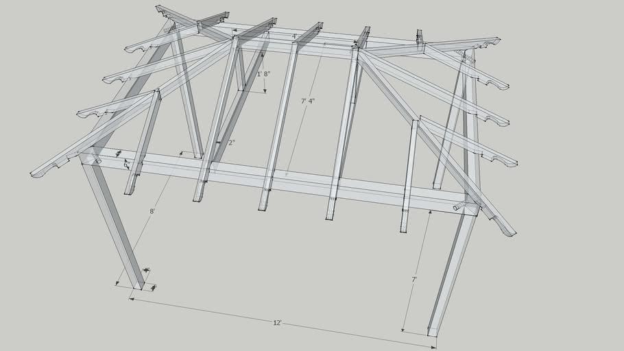 8' x 12' gazebo wood frame