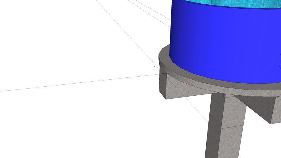 caixa de agua com pilar de cruzeta