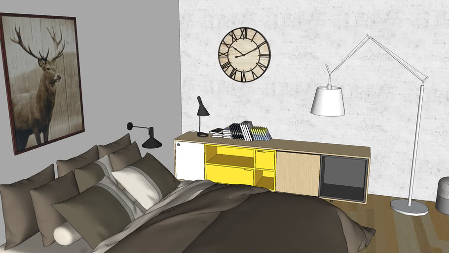Yellow grey , camera moderna concrete e arredo , bedroom