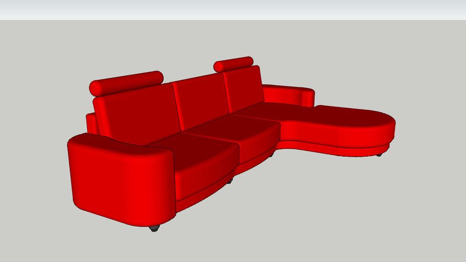 Red Corner Sofa Couch L Shape